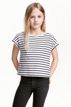 Jersey top with cap sleeves - White/Dark blue/Striped - Kids | H&M CN 1