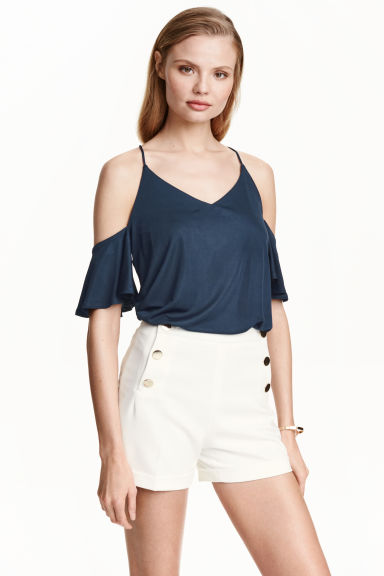 Cold shoulder top - Dark blue - Ladies | H&M CN 1