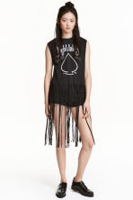 Fringed vest top - Dark grey - Ladies | H&M CN 1