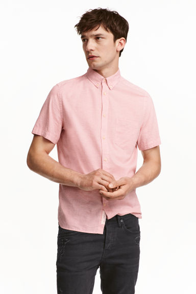 Short-sleeved cotton shirt - Light pink marl - Men | H&M CN 1