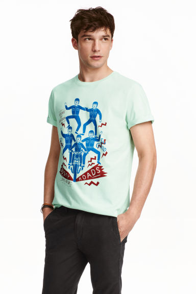 Printed T-shirt - Mint green - Men | H&M GB
