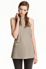 Ribbed vest top - Khaki green - Ladies | H&M CN 1