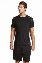 Short-sleeved sports top - Black - Men | H&M CN 1