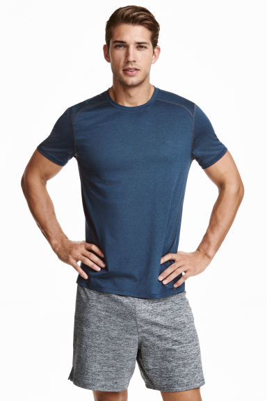Short-sleeved sports top - Dark blue marl - Men | H&M CN 1