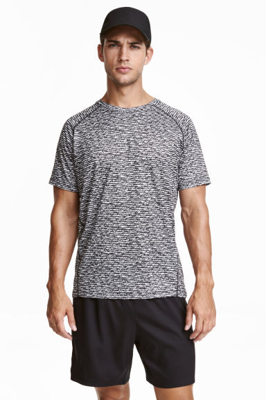 Short-sleeved running top - Dark grey/Patterned - Men | H&M CN 1