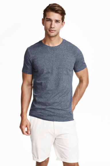 T-shirt girocollo Slim fit - Blu scuro mélange - UOMO | H&M IT 1