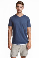 V-neck T-shirt Regular fit - Dark blue marl - Men | H&M CN 1