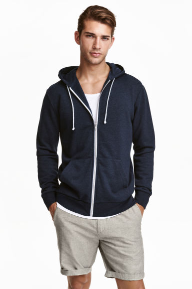 Hooded jacket - Dark blue marl - Men | H&M
