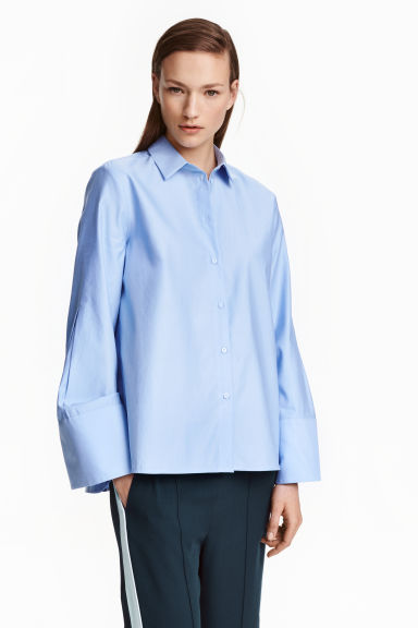 Cotton shirt - Light blue - Ladies | H&M GB 1