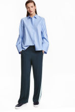 Wide trousers with stripes - Dark blue - Ladies | H&M CN 1