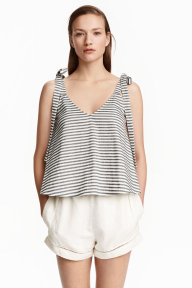 Sleeveless crop top - White/Striped - Ladies | H&M CN 1