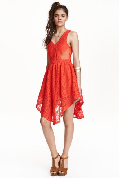 Sleeveless lace dress - Coral red - Ladies | H&M CN 1