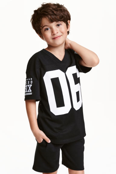 T-shirt with mesh - Black - Kids | H&M CN