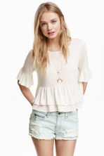 Flounced linen-blend top - Natural white - Ladies | H&M CN 3