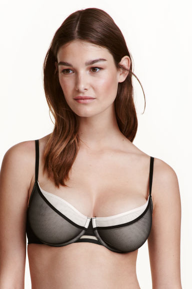Underwired mesh bra - Black/Powder - Ladies | H&M CN 1