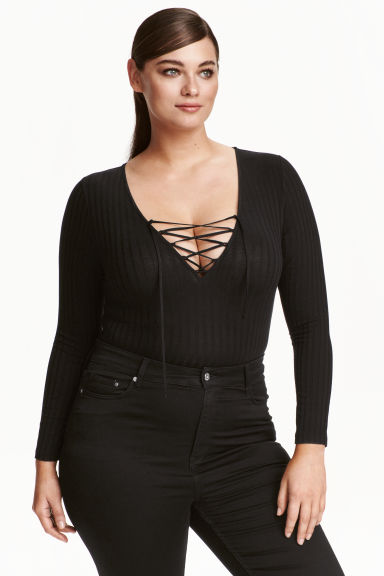 H&M+ Ribbed body - Black - Ladies | H&M CN 1