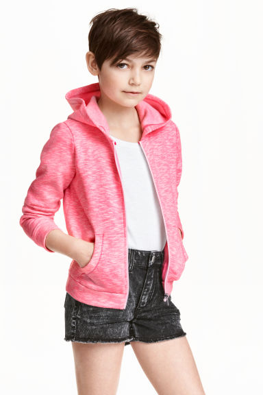 Hooded jacket - Pink marl - Kids | H&M CN