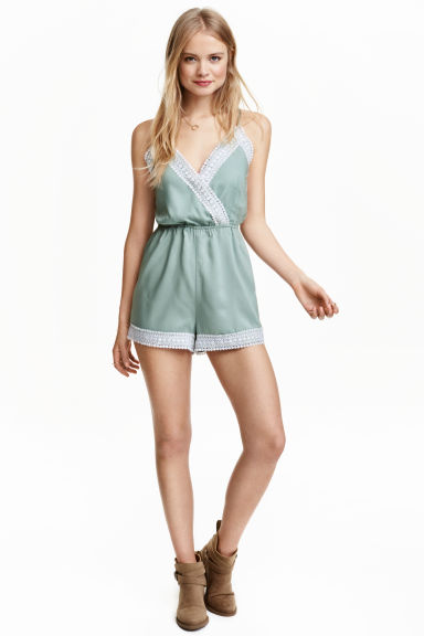 Playsuit with lace - Light petrol - Ladies | H&M CN 1