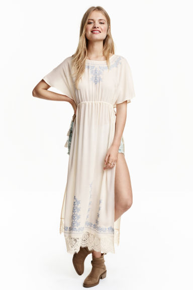 Kaftan with lace - Natural white/Blue - Ladies | H&M CN 1
