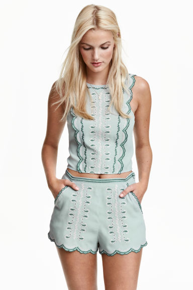 Short met borduursel - Mintgroen - DAMES | H&M BE 1