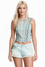 Embroidered blouse - Mint green - Ladies | H&M CN 1