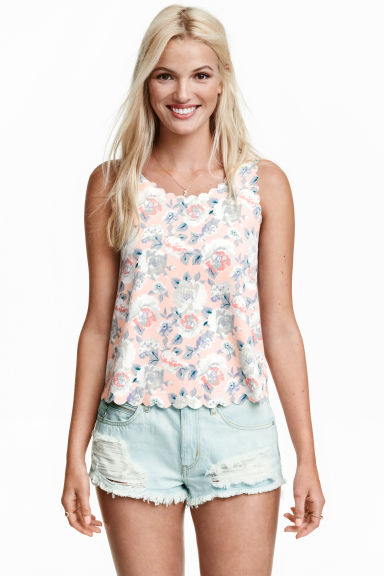 Vest top with scalloped edges - Powder pink/Floral - Ladies | H&M CN 1