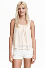 Top with lace shoulder straps - Natural white - Ladies | H&M CN 1