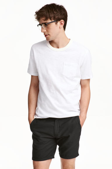 T-shirt with a chest pocket - White marl - Men | H&M CN