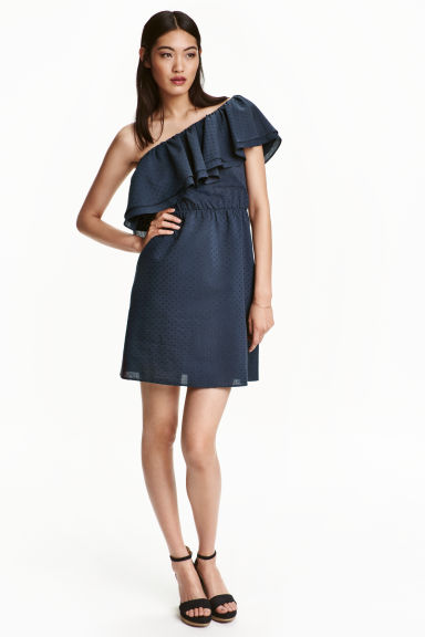 One-shoulder dress - Dark blue - Ladies | H&M CN 1