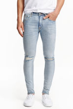 Super Skinny Low Ripped Jeans - Light denim blue - Men | H&M CN 1
