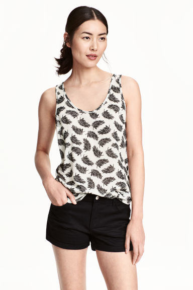 Patterned vest top - Natural white/Feathers - Ladies | H&M CN