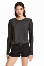 Long-sleeved lyocell top - Dark grey marl - Ladies | H&M CN 1