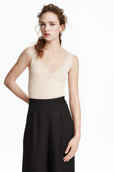 Ribbed top - Light beige - Ladies | H&M CN