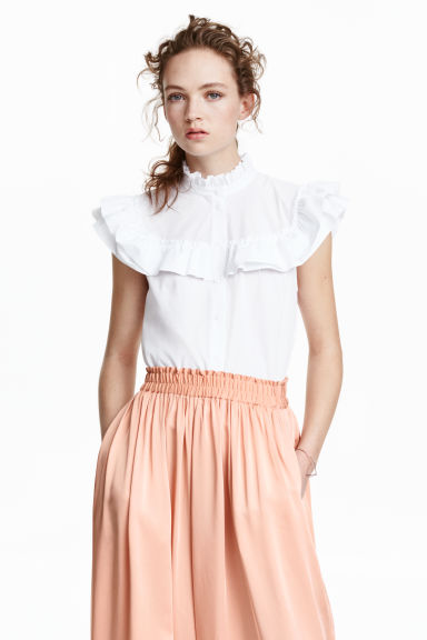 Frilled blouse - White - Ladies | H&M GB 1