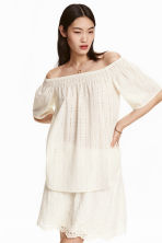 Off-the-shoulder blouse - Natural white - Ladies | H&M CN 1
