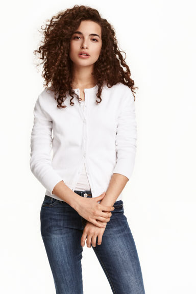 Fine-knit cotton cardigan - White - Ladies | H&M CN 1