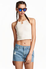 Halterneck crop top - White - Ladies | H&M GB 1
