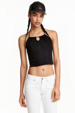 Halterneck crop top - Black - Ladies | H&M GB 1