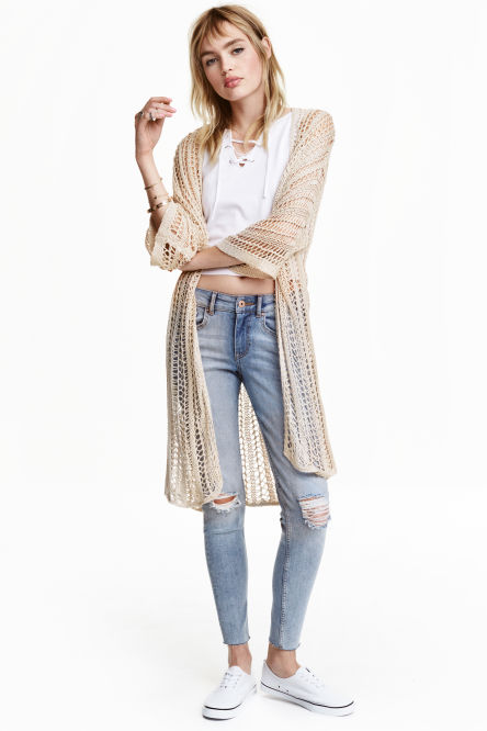 Hole-knit cardigan