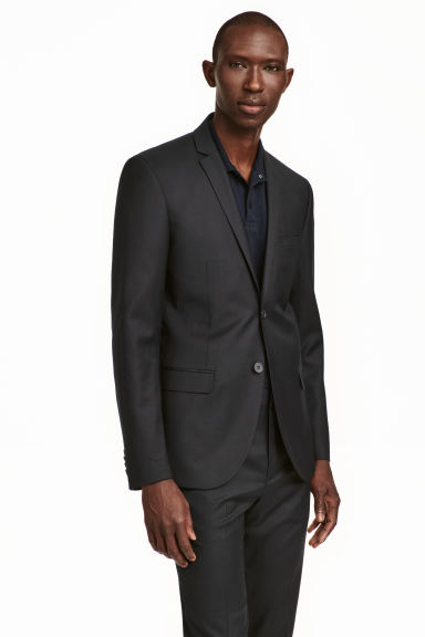 Wool jacket Slim fit - Black - Men | H&M CA 1