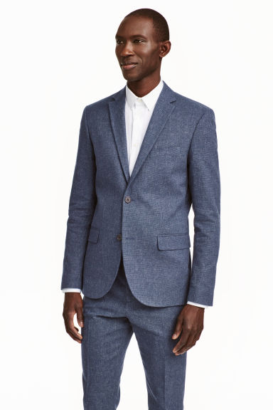 Jacket in a linen blend - Dark blue marl - Men | H&M CN 1