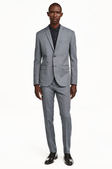 Suit trousers Slim Fit - Dark blue/Textured - Men | H&M CN