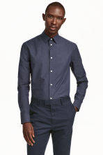 Camicia in cotone premium - Blu scuro/pois - UOMO | H&M IT 1
