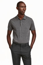 Silk-blend polo shirt - Dark grey marl - Men | H&M CN 1