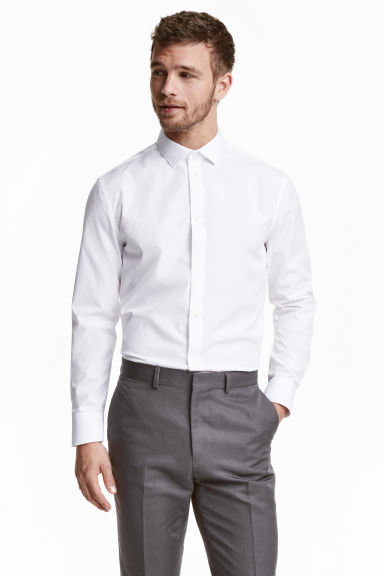 Premium cotton shirt - White - Men | H&M 1
