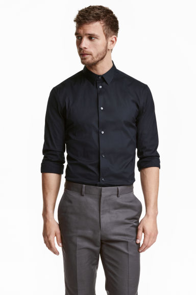Stretch shirt Slim fit - Dark blue - Men | H&M CN 1