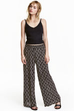 Wide trousers - Black/Patterned - Ladies | H&M CN 1