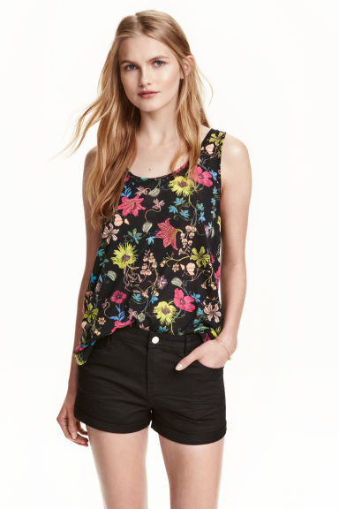 Patterned vest top - Black/Floral - Ladies | H&M CN 1