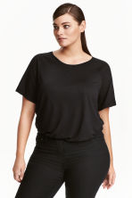H&M+ Short-sleeved top - Black - Ladies | H&M 2