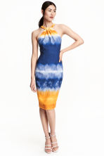 Halterneck dress - Dark blue/Yellow - Ladies | H&M CN 1